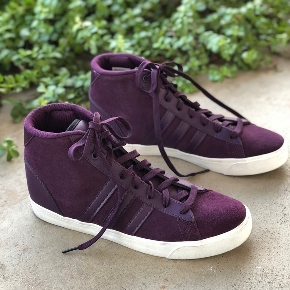 pretty nice d9140 563ff adidas Shoes - Adidas Neo Maroon Suede High Top Sneakers